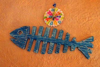Скелет рыбы украшение из дерева